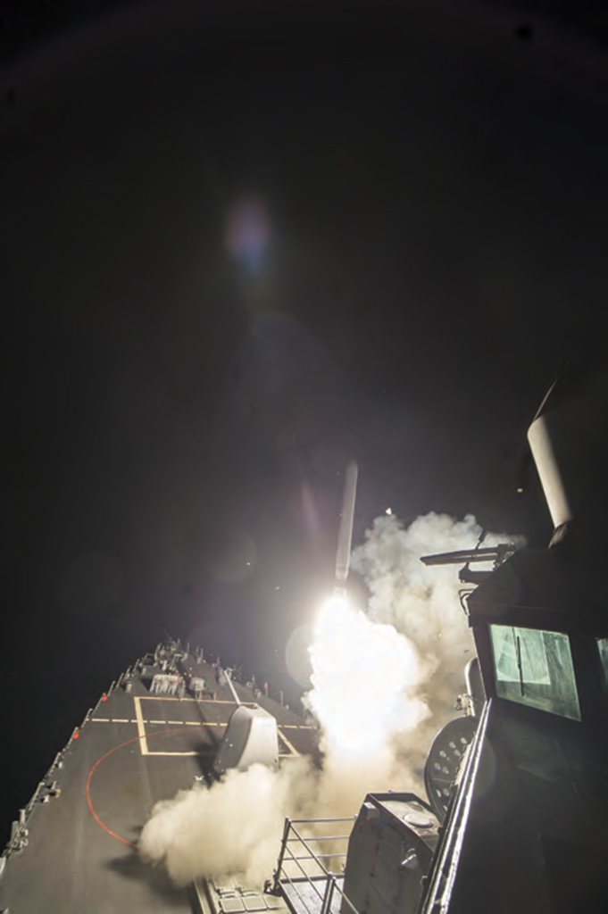 The U.S. fired 59 Tomahawk missiles at a Syrian military airbase after the Assad regime's chemical attack on the rebel-held town of Khan Sheikhoun in North-Western Syria on April 4, 2017.  AA PHOTO / PENTAGON / HANDOUT
